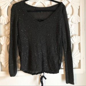 American Eagle Sequined Sweater with Sheer Back